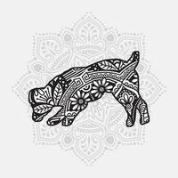Dog Mandala. Vintage decorative elements. Oriental pattern, vector illustration.