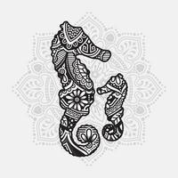 Sea Animal Mandala. Vintage decorative elements. Oriental pattern, vector illustration.