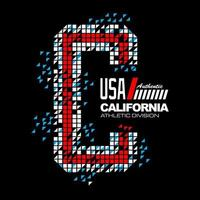 California typography apparel design vector