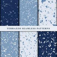 Set of terrazzo japanese style seamless patterns. Premium Vector