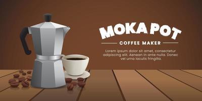 Moka pot banner vector
