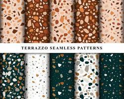 conjunto de patrones sin fisuras de terrazo. patrón de piso de terrazo. terrazo de patrones sin fisuras. colección de patrón de terrazo vector
