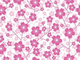 Seamless Cherry Blossom Floral Pattern Isolated On A White Background, Vector Illustration.