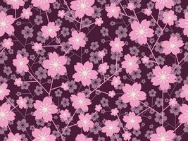 Seamless Cherry Blossom Floral Pattern Isolated On A Black Background, Vector Illustration.