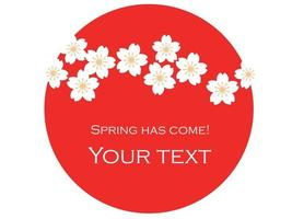 Vector Background Illustration With The Rising Sun, Cherry Blossoms, And Text Space.