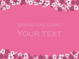 Cherry Blossom Background With Text Space Isolated On A Pink Background, Vector Illustration.