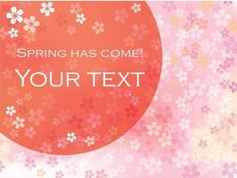 Vector Background Illustration With The Rising Sun, Cherry Blossoms In Full Bloom, And Text Space.