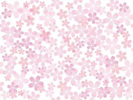 Seamless Vector Background Illustration With Cherry Blossoms In Full Bloom Isolated On A White Background. Horizontally And Vertically Repeatable.