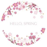 Round Vector Background Illustration With Cherry Blossoms In Full Bloom Isolated On A White Background.