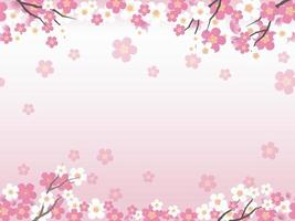 Vector Background Illustration With Cherry Blossoms And Text Space. Horizontally repeatable.