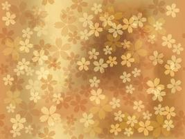 Seamless Vector Gold Background Illustration With Cherry Blossoms In Full Bloom. Horizontally And Vertically Repeatable.