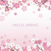 Cherry Blossoms Background Illustration With Text Space. Vector Illustration. Horizontally Repeatable.