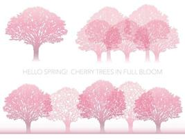 Set Of Vector Cherry Trees In Full Bloom Isolated On A White Background.