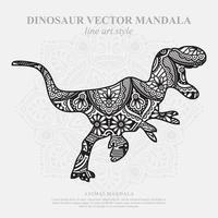 Dinosaur Mandala. Vintage decorative elements. Oriental pattern, vector illustration.