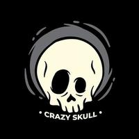 diseño de ilustración de cráneo loco