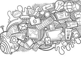 Conceptual Doodle Wall Art, Messy Pile of Gadgets vector