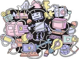 Doodle robot y gadgets de fondo vector