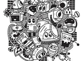 Doodle Robot Wall Background vector