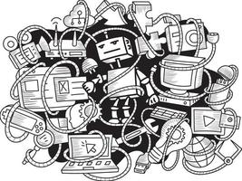 Doodle Robot and Gadgets Pattern Background vector