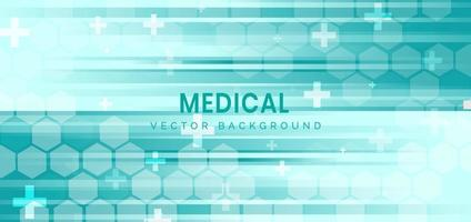 Abstract hexagon pattern and lines on green background. Medical health care and science icon medical innovation concept background. vector