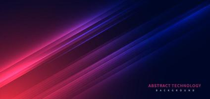 Technology futuristic background striped lines with light effect on red blue background. Space for text. vector