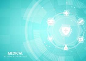 Fondo abstracto azul del hexágono. concepto de tecnología y ciencia médica y patrón de icono de atención médica. vector