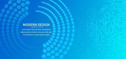 Blue abstract vector banner template. Minimal background with halftone circle for business, banner, for announcement.