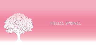 Vector Background Illustration With Cherry Blossoms In Full Bloom And Text Space On A Pink Background.