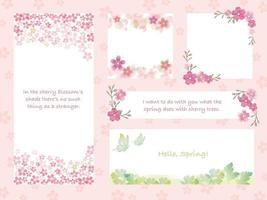 Set Of Greeting Cards Set With Cherry Blossoms In Full Bloom On A Pink Background. Vector Illustration.