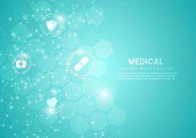 Abstract blue hexagon pattern background. Medical and science concept and health care icon pattern. vector