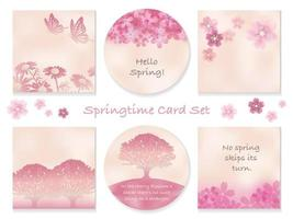 Set Of Spring Greeting Card Templates With Botanical Decorations Isolated On A White Background. Vector Illustration.