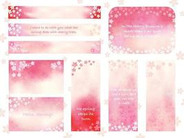 Set Of Spring Greeting Card Templates Decorated With Cherry Blossoms Isolated On A White Background. Vector Illustration.