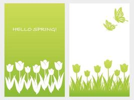Set Of Vector Springtime Background Illustration With Tulips, Butterflies, And Text Space Isolated