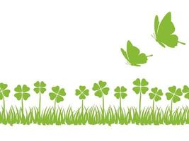 Seamless Four-Leafed Clover And Butterflies Background With Text Space, Vector Illustration. Horizontally Repeatable.