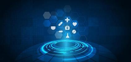 Abstract blue hexagon pattern background. Medical technology and science concept and health care icon pattern. vector