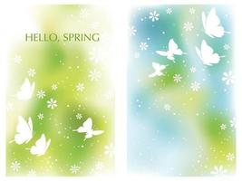 Set Of Springtime Vector Background Illustrations With Flowers, Butterflies, And Text Space Isolated On A White Background.