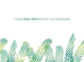 Spring Plants Vector Background Illustration With Text Space. Horizontally Repeatable.