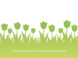 Seamless Springtime Background Illustration With Tulips And Text Space. Horizontally Repeatable.