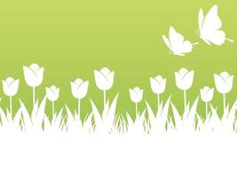 Springtime Background Illustration With Tulips, Butterflies, And Text Space. Horizontally Repeatable.