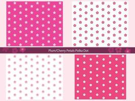 Set Of Seamless Cherry Flower Patterns Isolated On A Pink Background. Horizontally And Vertically Repeatable.