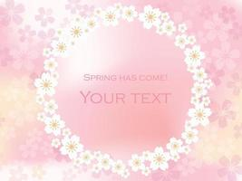 Round Vector Cherry Blossom Frame Isolated On A Pink Background.