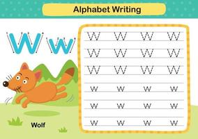 Ejercicio de letra w-lobo del alfabeto con ilustración de vocabulario de dibujos animados, vector