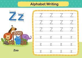 Ejercicio de alfabeto letra z-zoo con ilustración de vocabulario de dibujos animados, vector