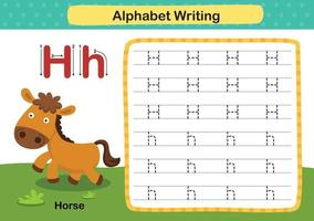 Alfabeto letra h-caballo ejercicio con ilustración de vocabulario de dibujos animados, vector