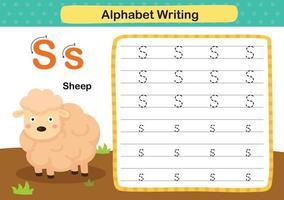 Ejercicio de alfabeto letra s-oveja con ilustración de vocabulario de dibujos animados, vector