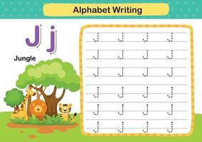 Ejercicio de la letra j-jungla del alfabeto con ilustración de vocabulario de dibujos animados, vector