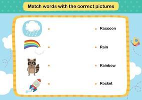 emparejar palabras con la ilustración correcta de las imágenes, vector