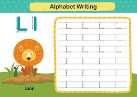 Alphabet Letter L-Lion exercise with cartoon vocabulary illustration, vector