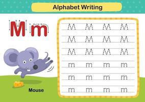Ejercicio de alfabeto letra m-mouse con ilustración de vocabulario de dibujos animados, vector