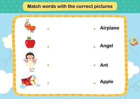 Match words with the correct pictures illustration, vector